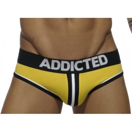 Jockbrief Addicted jaune double piping bottomless